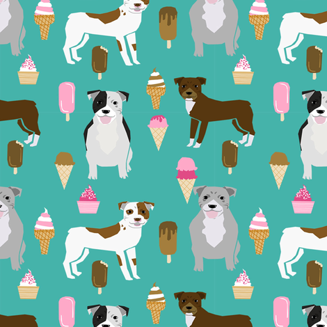 pitbull mixed coats ice cream dog breed pure breed fabric teal fabric by petfriendly on Spoonflower - custom fabric