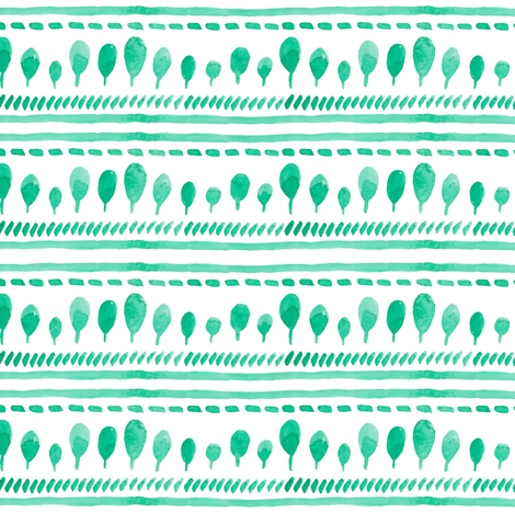 watercolor simple green trees, stripes fabric by yashroom on Spoonflower - custom fabric