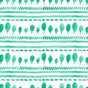 watercolor simple green trees, stripes