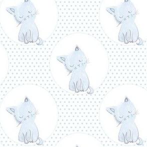 "4"" Boy Kitty Blue Polka Dots"