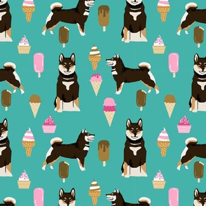 shiba inu black and tan coat ice cream dog breed pure breed fabric teal