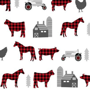 farm fabric nursery decor tractors animals farming  buffalo plaid