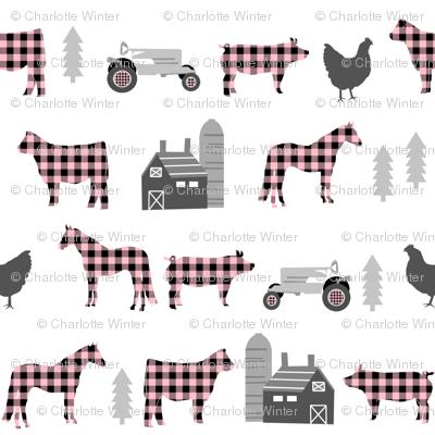 farm fabric nursery decor tractors animals farming plaid