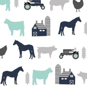 farm fabric nursery decor tractors animals farming blue
