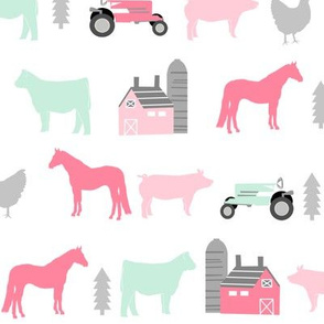 farm fabric nursery decor tractors animals farming pink