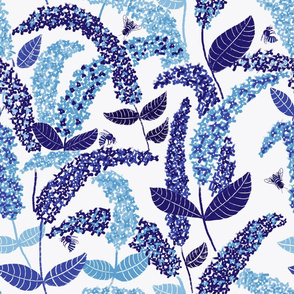 Bee Buddleia // blue floral