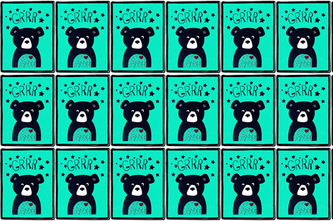 Large bear pillow fabric by andmonstertoys on Spoonflower - custom fabric