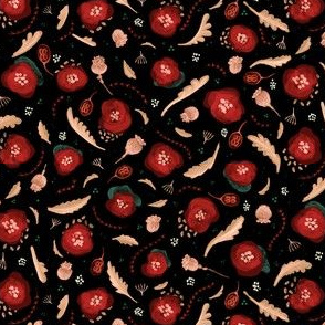 TILE-limolida-poppy-field-seedpods-cream-blue-red-poppies-flowers-black