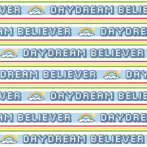 Daydream Believer*  ||  polyester jacquard stripes pixel vintage double knit 70s retro groovy tee t-shirt shirt children childrens rainbow cloud typography sun vintage