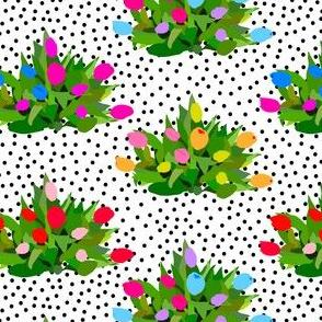Tulip Bouquets in Black + White Dots