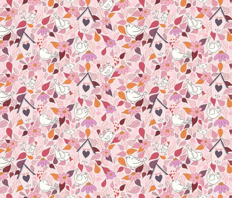 Love nest PINK fabric by vivdesign on Spoonflower - custom fabric