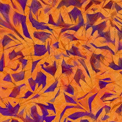 tangerine orange leaves plum blue fabric by wren_leyland on Spoonflower - custom fabric