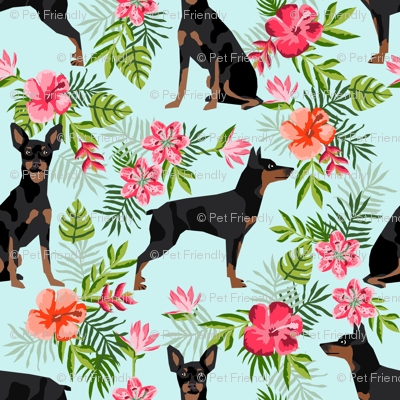 min pin (smaller) hawaiian fabric tropical palm print design miniature pinscher dog fabric - light blue