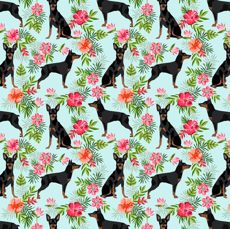 min pin (smaller) hawaiian fabric tropical palm print design miniature pinscher dog fabric - light blue fabric by petfriendly on Spoonflower - custom fabric