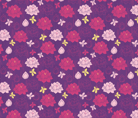 Lotus Fields fabric by esther_loopstra_illustration on Spoonflower - custom fabric