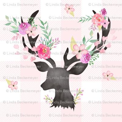 Deer Antler Floral on Light Pink Plaid- Ashburton Coordinate for Girls GingerLous