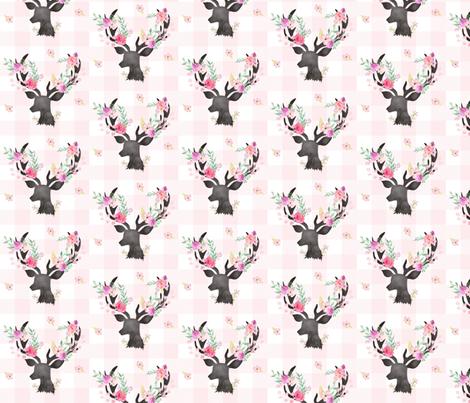 Deer Antler Floral on Light Pink Plaid- Ashburton Coordinate for Girls GingerLous fabric by gingerlous on Spoonflower - custom fabric
