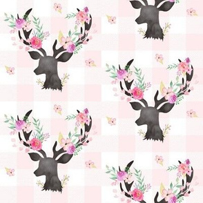Deer Antler Floral on Light Pink Plaid- Ashburton Coordinate for Girls GingerLous