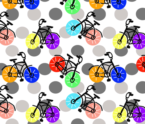 Dotted Bicycles fabric by lorloves_design on Spoonflower - custom fabric