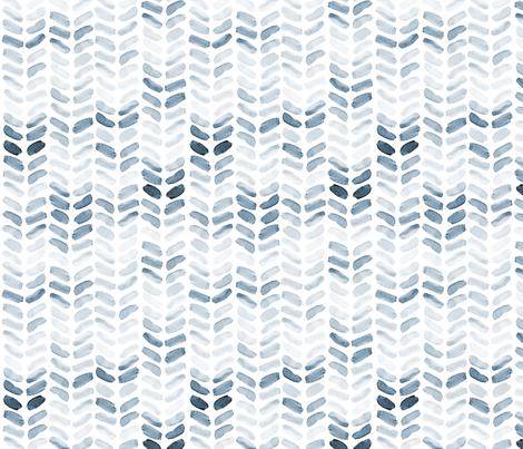 Blue Watercolor Herringbone, vertical fabric by laurapol on Spoonflower - custom fabric