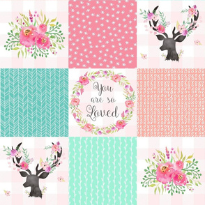 You Are So Loved Deer Patchwork Quilt Top (pink, peach, mint)- Ashburton Coordinate for Girls Ginger Lous