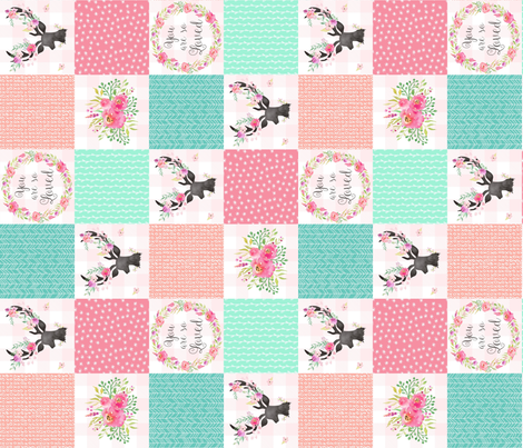 You Are So Loved Deer Patchwork Quilt Top (pink, peach, mint) ROTATED - Ashburton Coordinate for Girls Ginger Lous fabric by gingerlous on Spoonflower - custom fabric