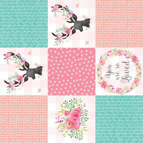 You Are So Loved Deer Patchwork Quilt Top (pink, peach, mint) ROTATED - Ashburton Coordinate for Girls Ginger Lous