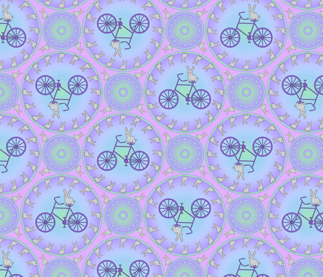 Bunnies and Bicycles fabric by enid_a on Spoonflower - custom fabric