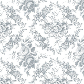 Lady Mary's Roses Grey Floral Toile