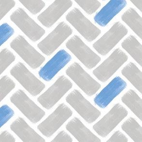 Grey and Blue Herringbone