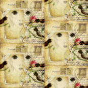 Birds and Rose Girl Collage