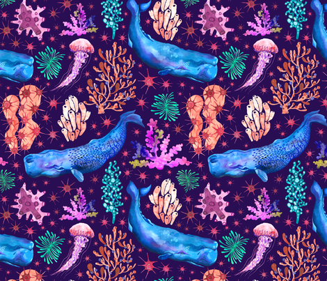 Whales and coral reef fabric by anna_kedziora on Spoonflower - custom fabric