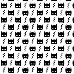 bat mask and bolt white superhero kids design - tiny
