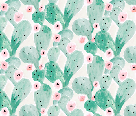 Jade Cactus Bloom - soft fabric by crystal_walen on Spoonflower - custom fabric