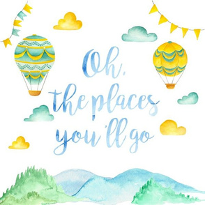 """12x12in """"Oh the Places"""" Pillow (boy version)"""