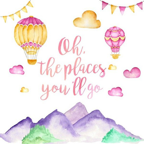 "12x12in ""Oh the Places"" Pillow (girl version)"