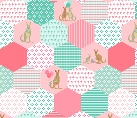 Kangaroo Baby Cheater Quilt Panel - pink & teal fabric by lauriewisbrun on Spoonflower - custom fabric