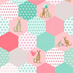 Kangaroo Baby Cheater Quilt Panel - pink & teal
