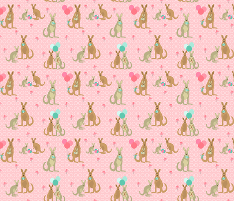Kangaroos - pink & teal fabric by lauriewisbrun on Spoonflower - custom fabric