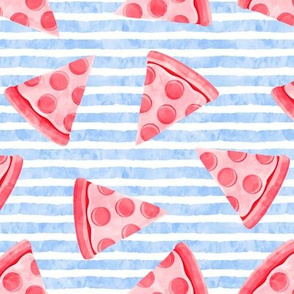 pizza slice (blue stripes) food fabric