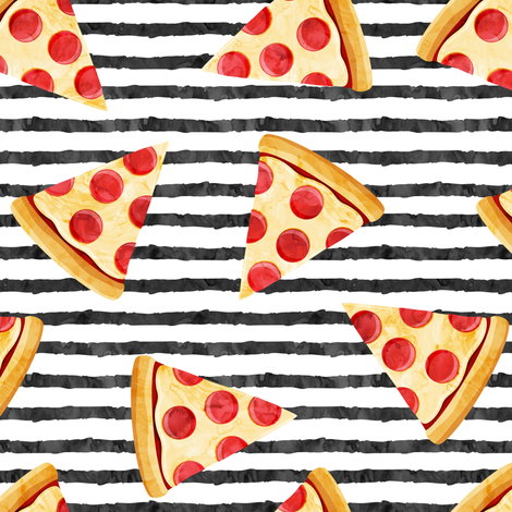 pizza slice (black stripes) food fabric fabric by littlearrowdesign on Spoonflower - custom fabric