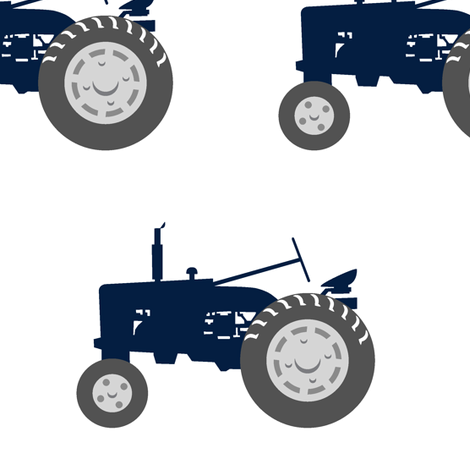 (jumbo scale) tractors - navy and dusty blue farm collection - C18BS fabric by littlearrowdesign on Spoonflower - custom fabric