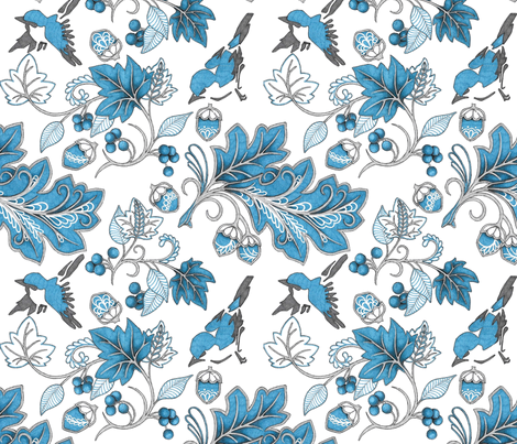 nature in blue fabric by zwolf73 on Spoonflower - custom fabric