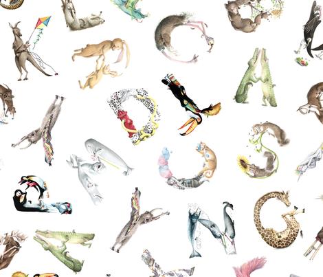 "Animal ABCs - Small LaughABit Alphabet by BirdsFlyOver 3.5""-4"" letter size fabric by birdsflyover on Spoonflower - custom fabric"