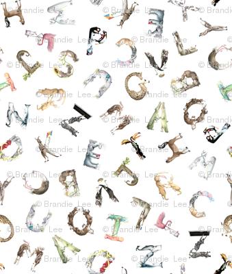 "Animal ABCs - Medium LaughABit BirdsFlyOver 4.5"" letters"
