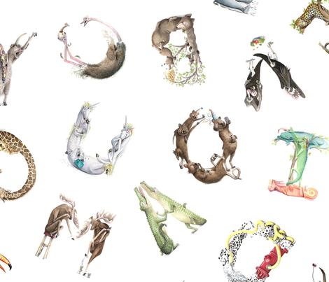 "Animal ABCs - Medium LaughABit BirdsFlyOver 4.5"" letters fabric by birdsflyover on Spoonflower - custom fabric"