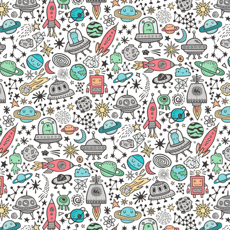 Space Galaxy Universe Doodle with Aliens, Rockets, Planets, Robots & Stars on White Smaller fabric by caja_design on Spoonflower - custom fabric