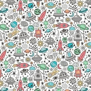 Space Galaxy Universe Doodle with Aliens, Rockets, Planets, Robots & Stars on White Smaller