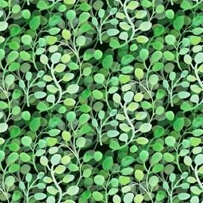 Green watercolor leafy wall on the dark small scale