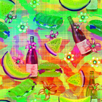 watermelon summer picnic horizontal rainbow lemony on plaid